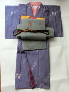 紬の着物 刺繍の袋帯