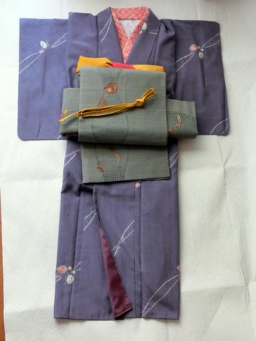 絞り柄の紬にすわとうの袋帯 黄色帯締め