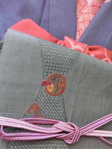 紬にすわとうの袋帯 紫色帯締UP
