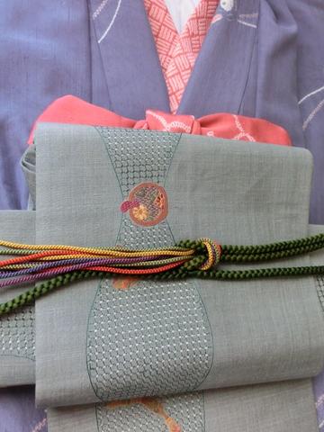 紬にすわとうの袋帯 緑色帯締UP