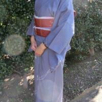 紬の着物を着たところ