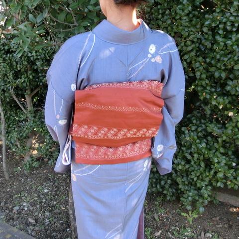 紬の着物を着たところ 帯
