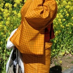黄八丈風着物