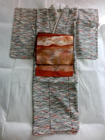 露芝小紋と朱金の袋帯