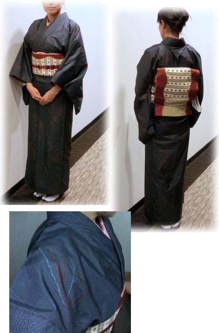 紬の着物に染めの帯