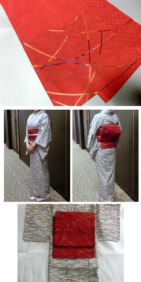 ★洗える袋名古屋帯★ 濃赤/竹風の柄  キレイめ中古品
