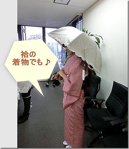 袷の着物と日傘