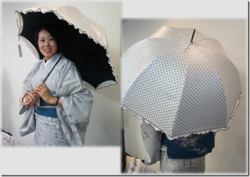 着物に日傘