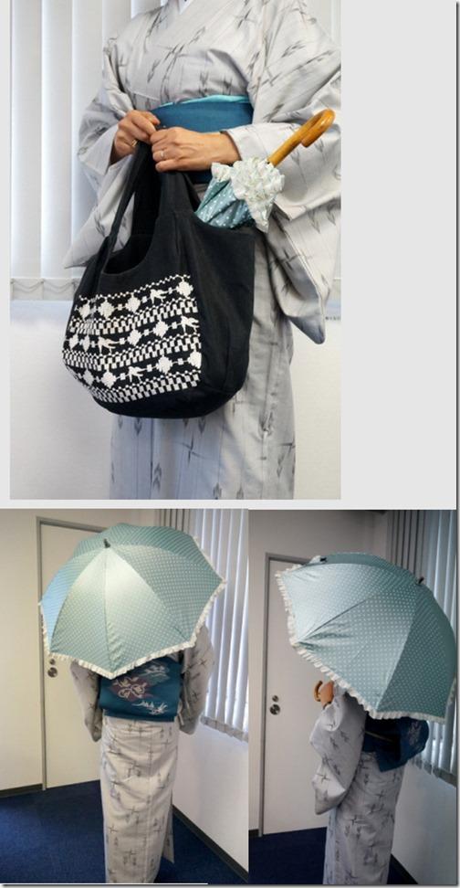 夏着物と「晴雨兼用二重張りUV日傘」