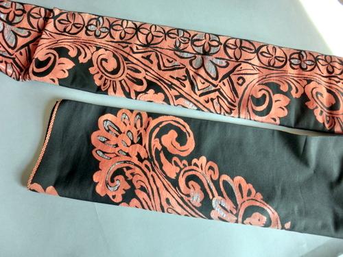 漆塗り糸 しゃれ袋帯