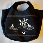 あひるの刺繍にめっちゃ萌え~♪ ポイント柄の名古屋帯でバッグを作ってもらいました~