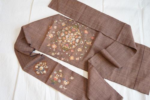 八寸織 刺繍帯 全体