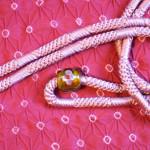 帯留 ピンク色帯締め