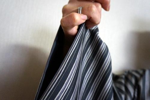胴抜き仕立ての白山紬 袖口