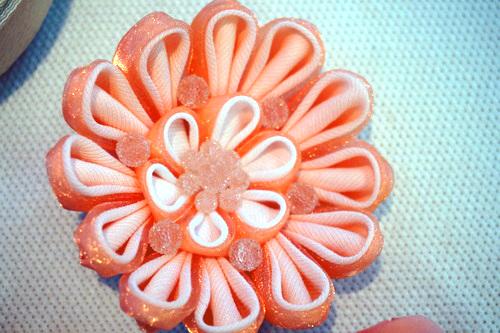 華やかなシフォンの花 ピンク