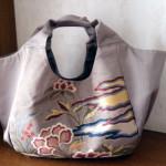 霧夢桜 ベージュ袋帯花がらバッグ