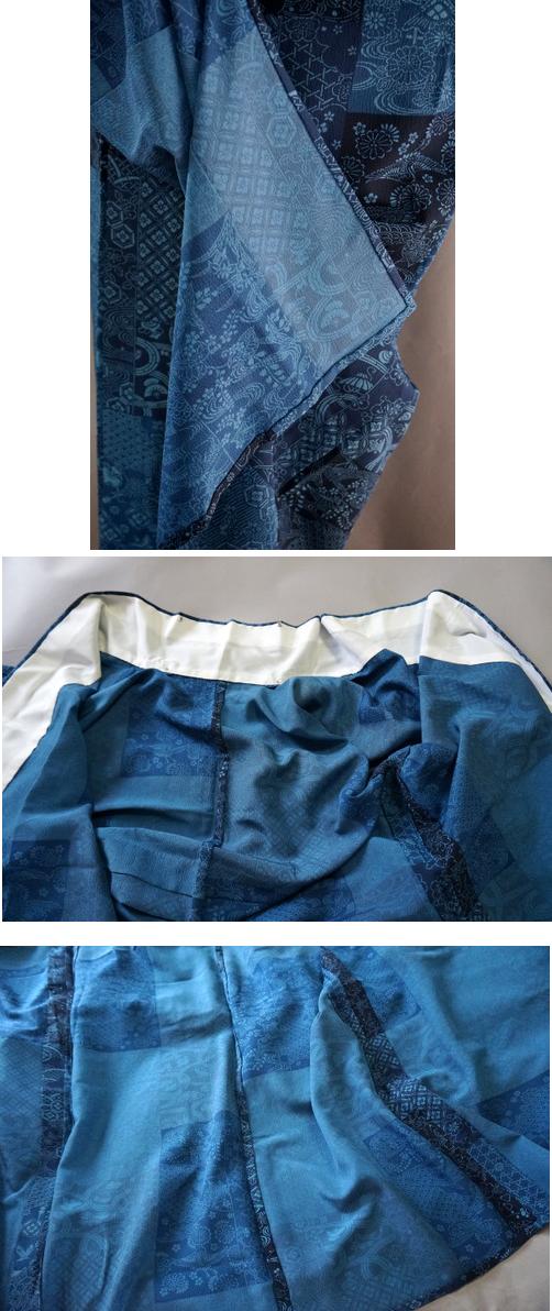 単衣 藍色小紋