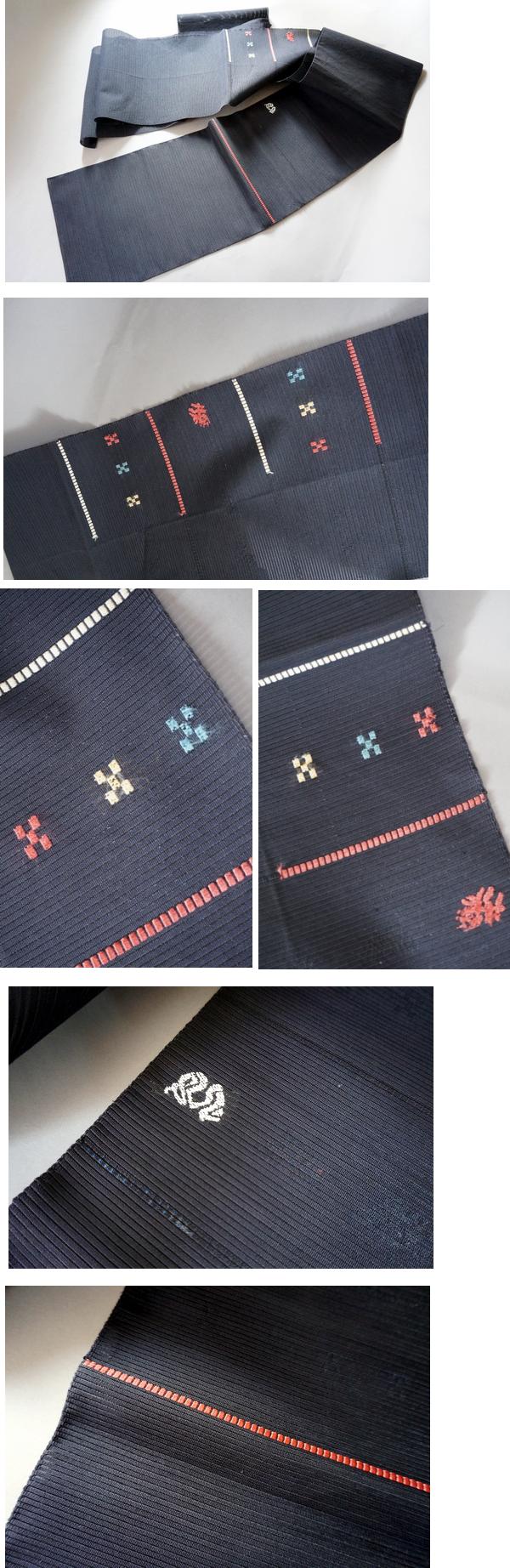 黒地 刺繍 絽綴れ