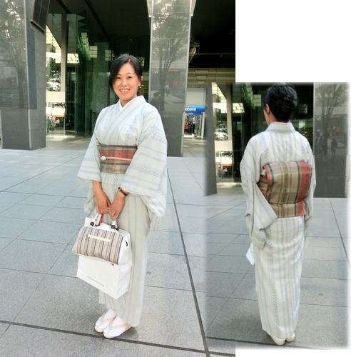 夏着物☆薄物の着物に沖縄の夏帯(名古屋帯)を合わせてみました♪