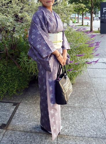 淡い紫色に琉球絣柄 紬の着物