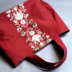 刺繍がカワイイ~ 名古屋帯で作った赤いバッグ♪