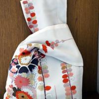 【霧夢桜】きものリメイク・付下げ着物と紬(縞)反物のリバーシブルきものbag