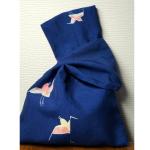 紬地を使ったリバーシブルのきものバッグ(鳥・縞柄)