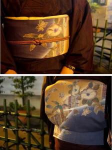 染め柄紬帯