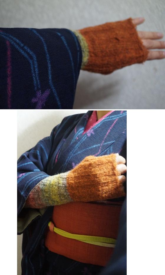 ウールの着物 手袋