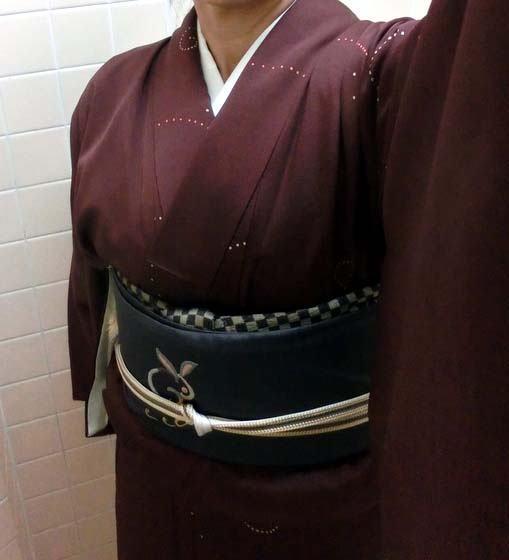 【着物でお出かけ】やわらかモノ小紋+うさぎさんの九寸名古屋帯♪