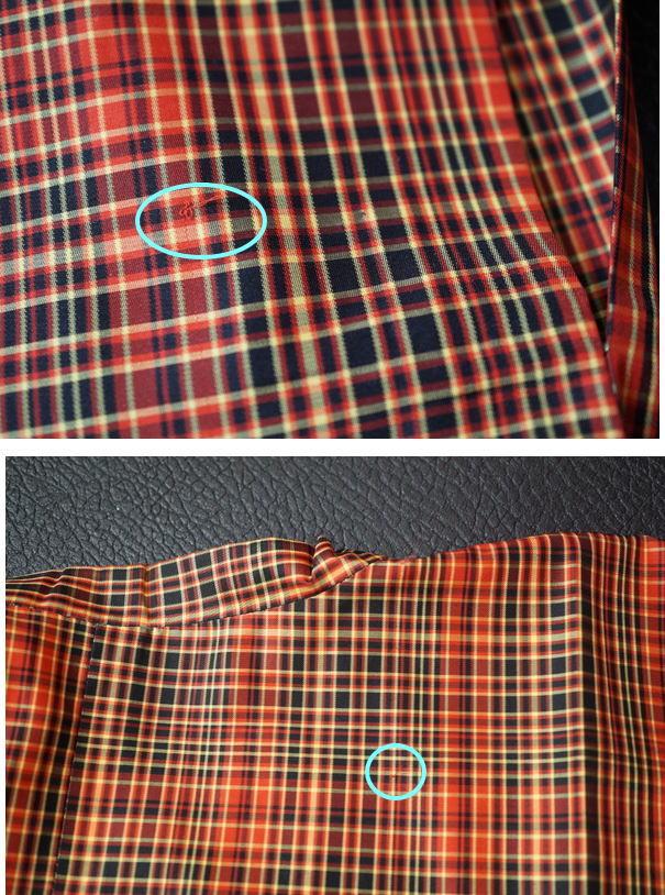 雨コートの糸引き箇所
