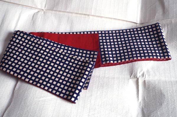 チェック半巾帯