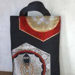 蝶紋/牡丹紋風・レトロ振袖袋帯のトートバッグ