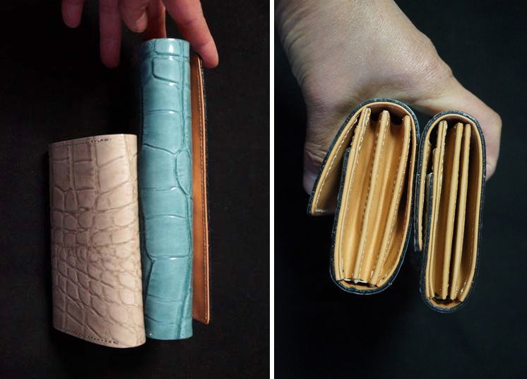 型押しクロコのお財布のサイズ感