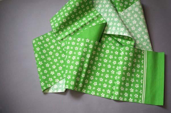 緑に桜の八寸名古屋帯