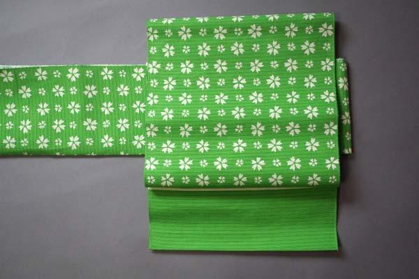 緑に桜の八寸名古屋帯お太鼓