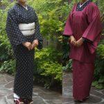 綿麻着物と紗の雨コート