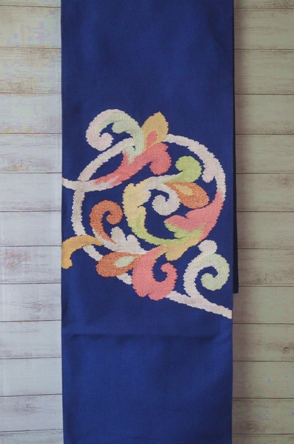 八寸刺繍帯青紺