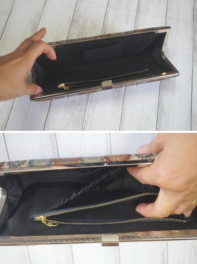 クラッチバッグのポケット