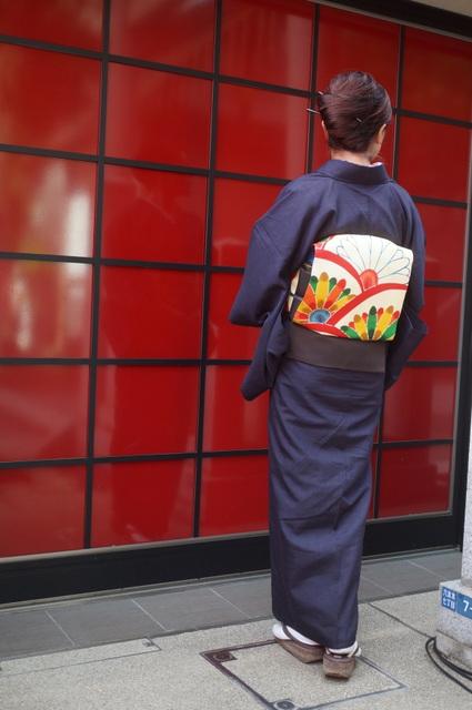 菊柄帯と単衣紬