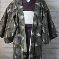 緑チェック羽織