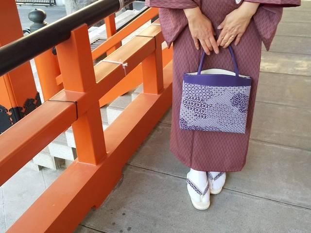 バッグと草履江戸小紋