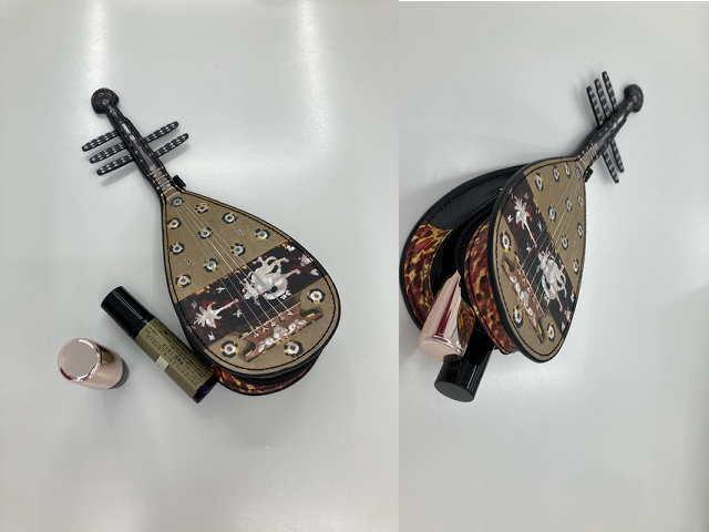 模造 螺鈿紫檀五絃琵琶ポーチのサイズ感