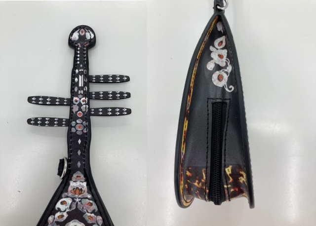 模造 螺鈿紫檀五絃琵琶ポーチ細部の作り