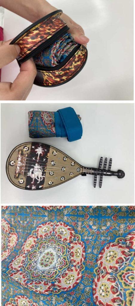 実際の琵琶袋のテキスタイルが使われている