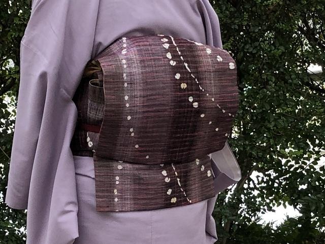 紬の洒落袋帯