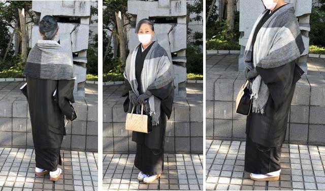 道中着コート着物衿+生カシミヤショール
