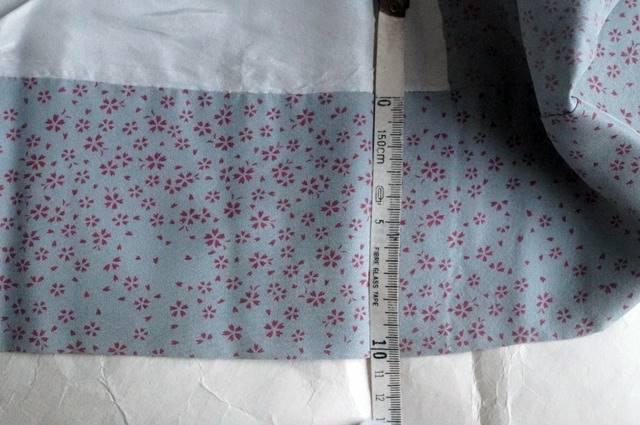 桜柄長襦袢ブルーグレー裾