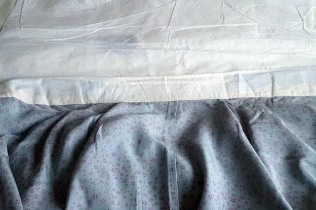 桜柄長襦袢ブルーグレー衿汚れ